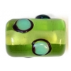 Glass Lamp Bead 13x9mm Roller Green